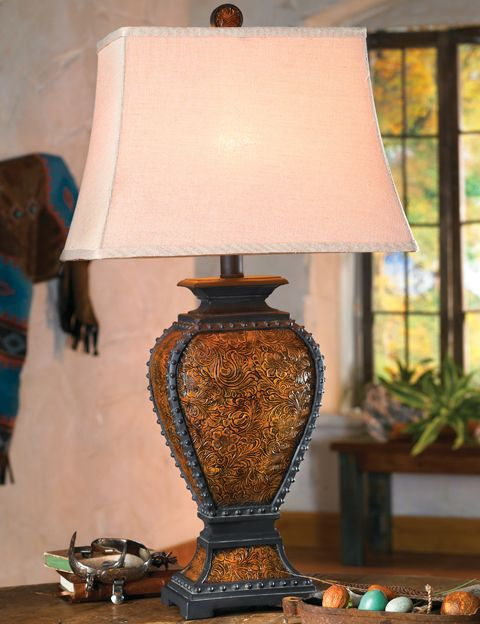 Tooled Leather Old West Lamp Western Lamps Rustic Lamps Rustic Lighting