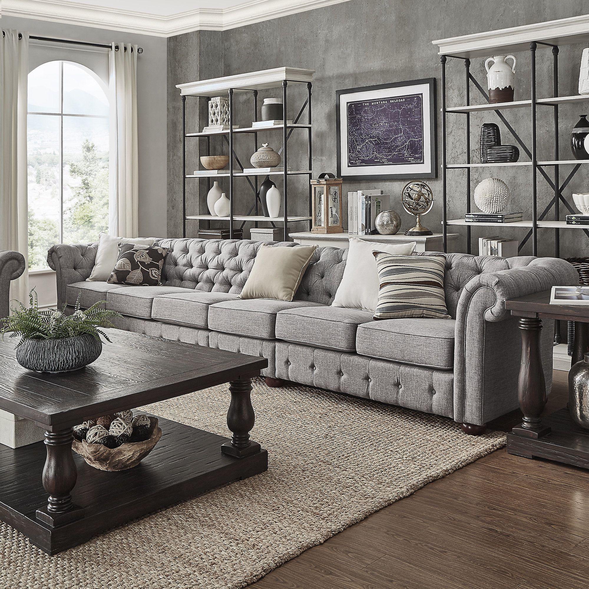Knightsbridge Grey Linen Oversize Extra Long Tufted Chesterfield Modular  Sofa By Signal Hills (