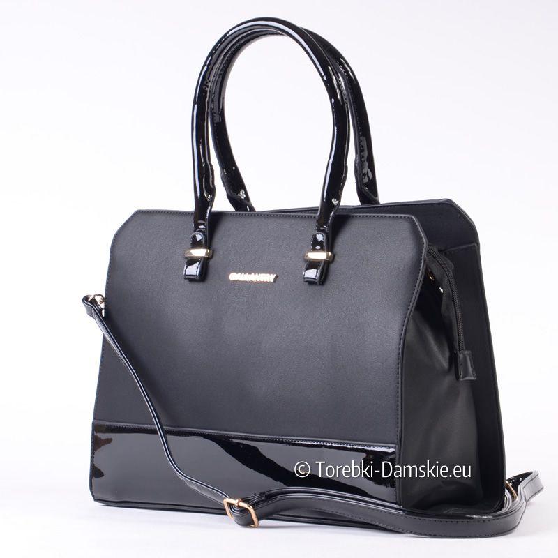 Czarna Torebka Damska Z Lakierowanymi Elementami Zlote Ozdoby Miesci A4 Bags Kate Spade Top Handle Bag Top Handle Bag