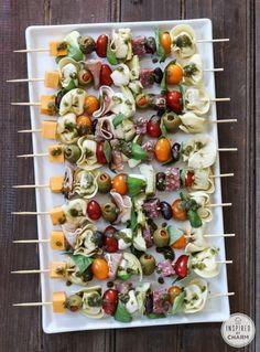 Antipasto Kabobs - I wouldn't put pasta on mine...but love the concept of making antipasto kebabs with tomatoes, cheese, basil, chargrilled eggplant/capsicum/zucchini, onion, salami, chorizo etc...yum!