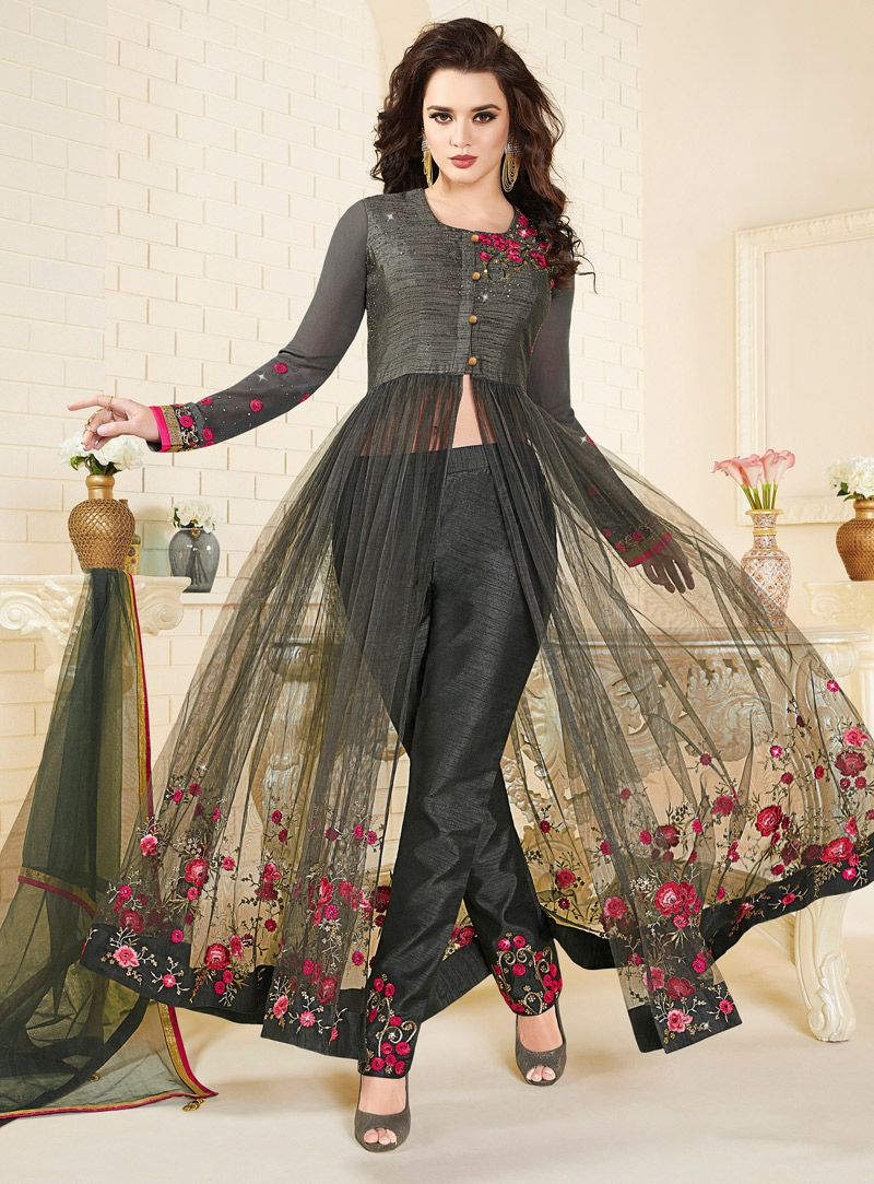 51817ad5f5 Black Net Center Slit Anarkali Suit 112261 | Kurtas | Anarkali suits ...