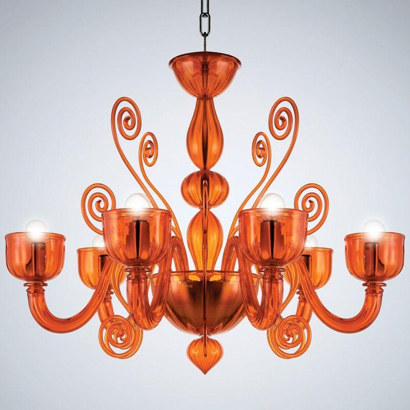 La Murrina Chandelier Glamour S 6 Orange Orange Light