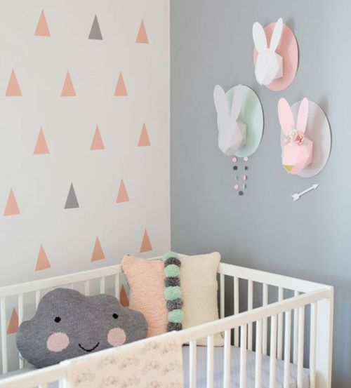 kinderzimmer gestalten idee wolken hasen origami k pfe baby pinterest kinderzimmer. Black Bedroom Furniture Sets. Home Design Ideas