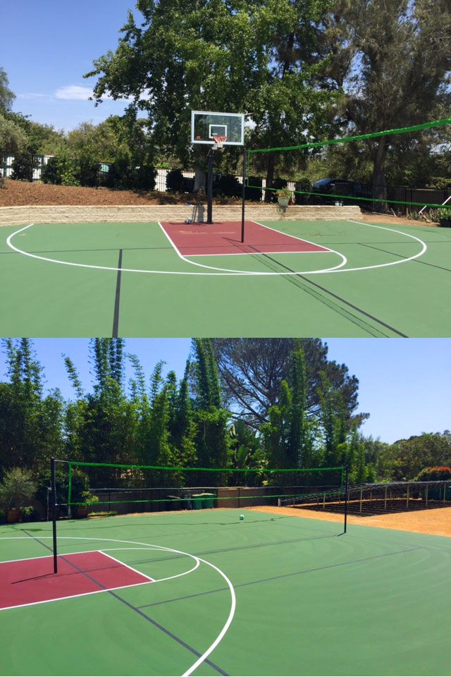 Combination Basketball Court And Volleyball Court Basketball Court Sport Volleyball Kids Sports Party