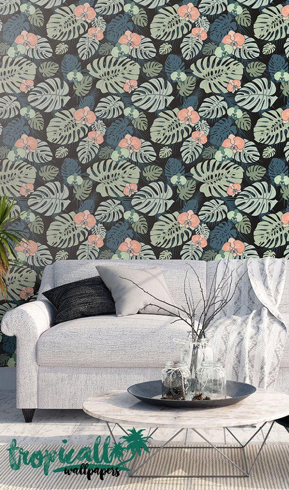 Monstera Leaves Print Wallpaper Removable Wallpaper Etsy Print Wallpaper Stick Wall Art Palm Leaf Wallpaper