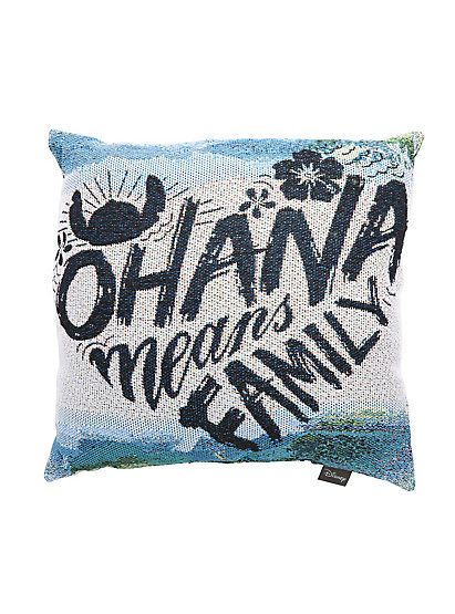 Disney Lilo & Stitch Ohana Means Family Woven Tapestry Pillow ...