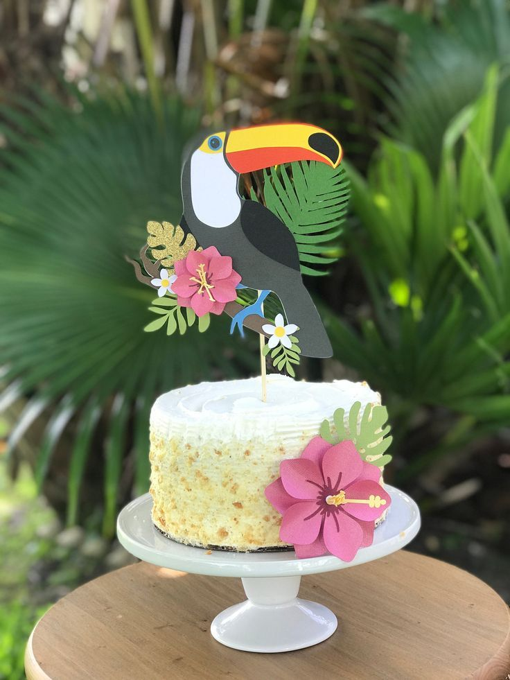 Tropical Party, Toucan Cake Topper, Palm Leaves, Tropical