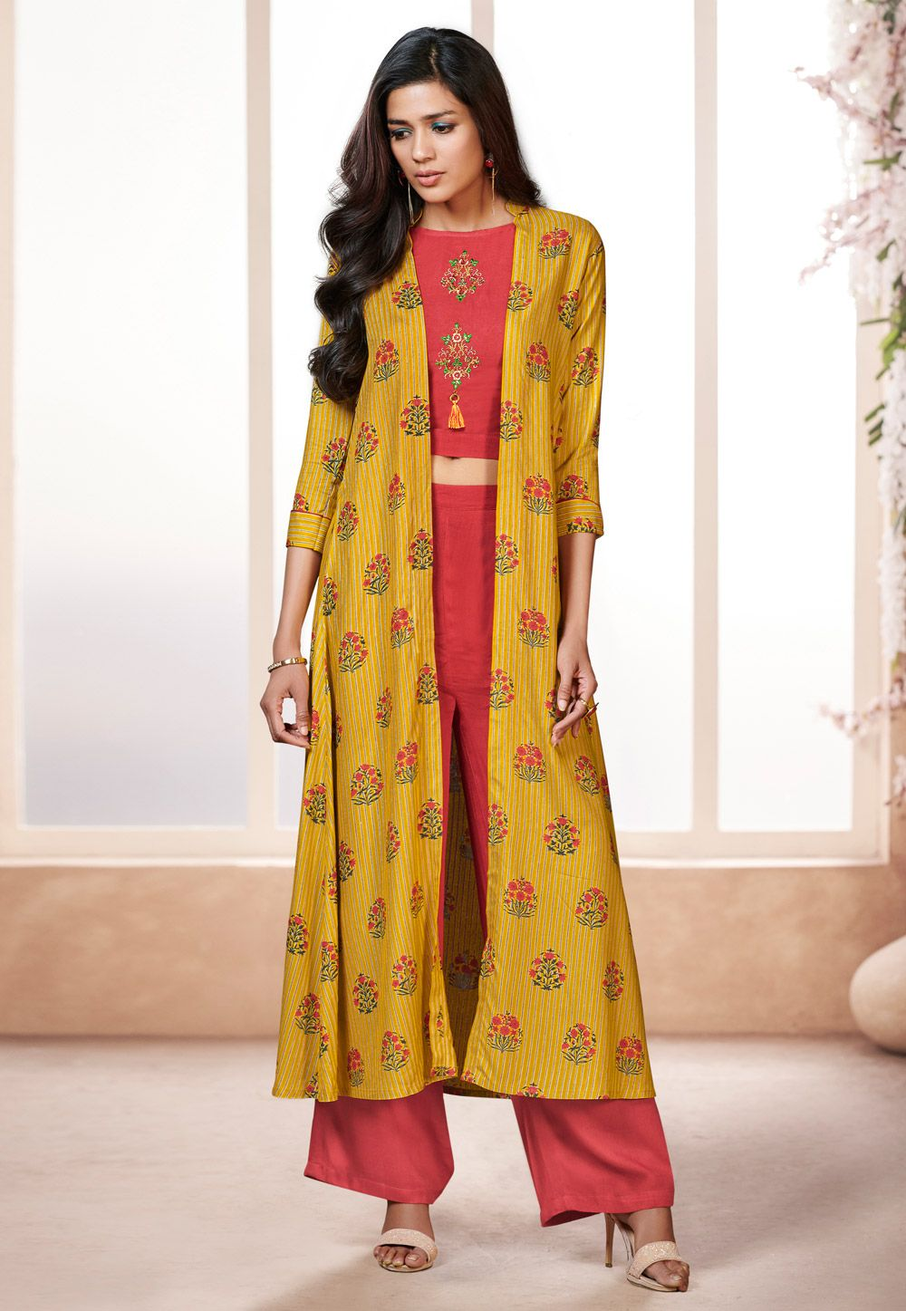 582e45ae89 Buy Red Rayon Readymade Palazzo Suit With Jacket 157568 online at lowest  price from huge collection of salwar kameez at Indianclothstore.com.
