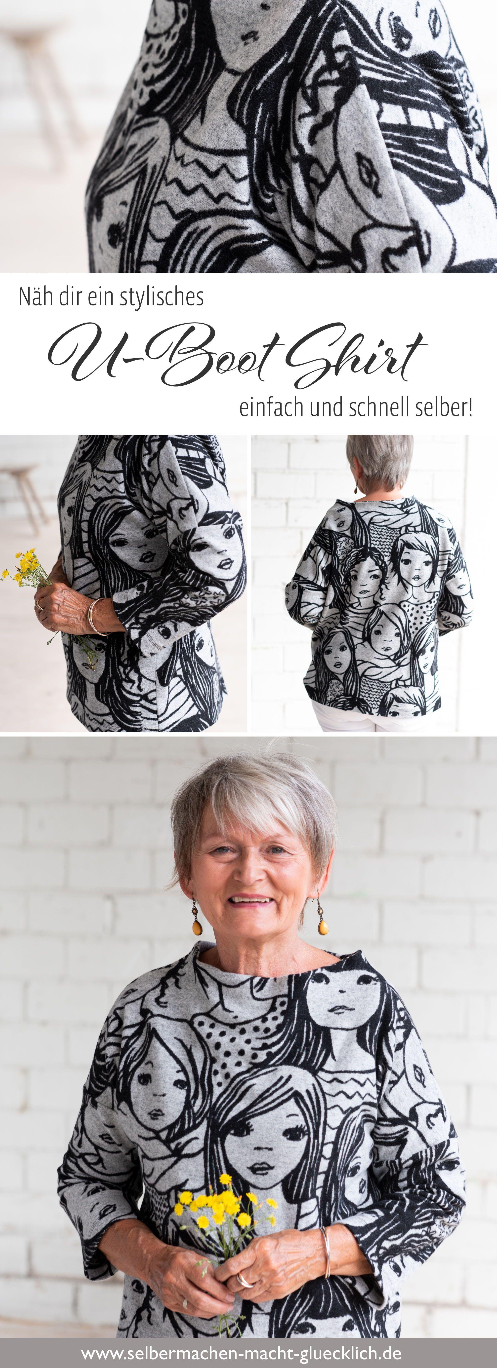 So nähst du ein stylisches Shirt mit U-Boot Kragen! – Nähideen & Plotten