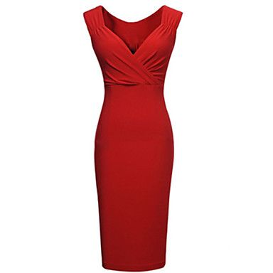 Women's Sexy Bodycon Party Plus Sizes Micro-elastic Sleeveless Knee-length Dress (Polyester) - USD $ 12.99