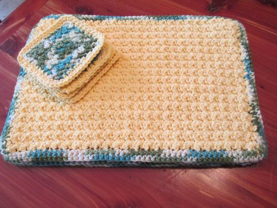 Crochet table place mats and coasters 100 Cotton by CrochetByVicky, $20.00