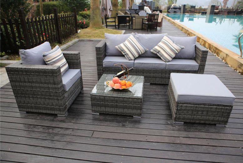 Dreams Yakoe Monaco 5 Seater Sofa Set 1 Rattan Garden Furniture Grey Rattan Garden Furniture Rattan Patio Furniture