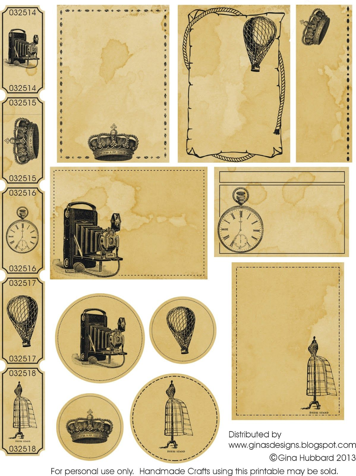Gina S Designs Another Vintage Freebie Friday Scrapbook Printables Vintage Printables Printables Freebies