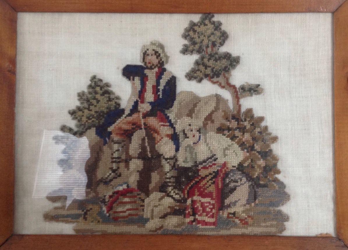 Primitive Soldier Gun Betsy Ross Flag American Patriotic Needlepoint Textile | eBay