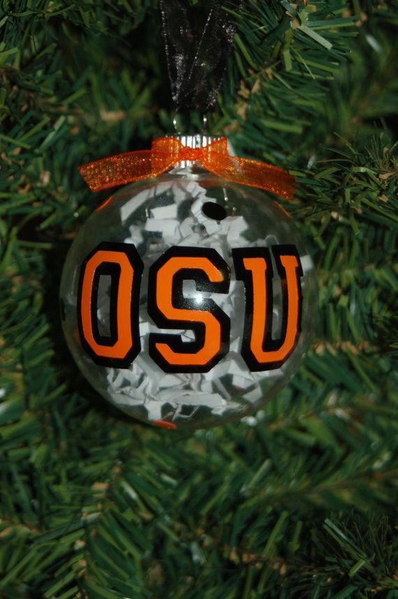Coton Colors Oklahoma State Logo Glass Ornament