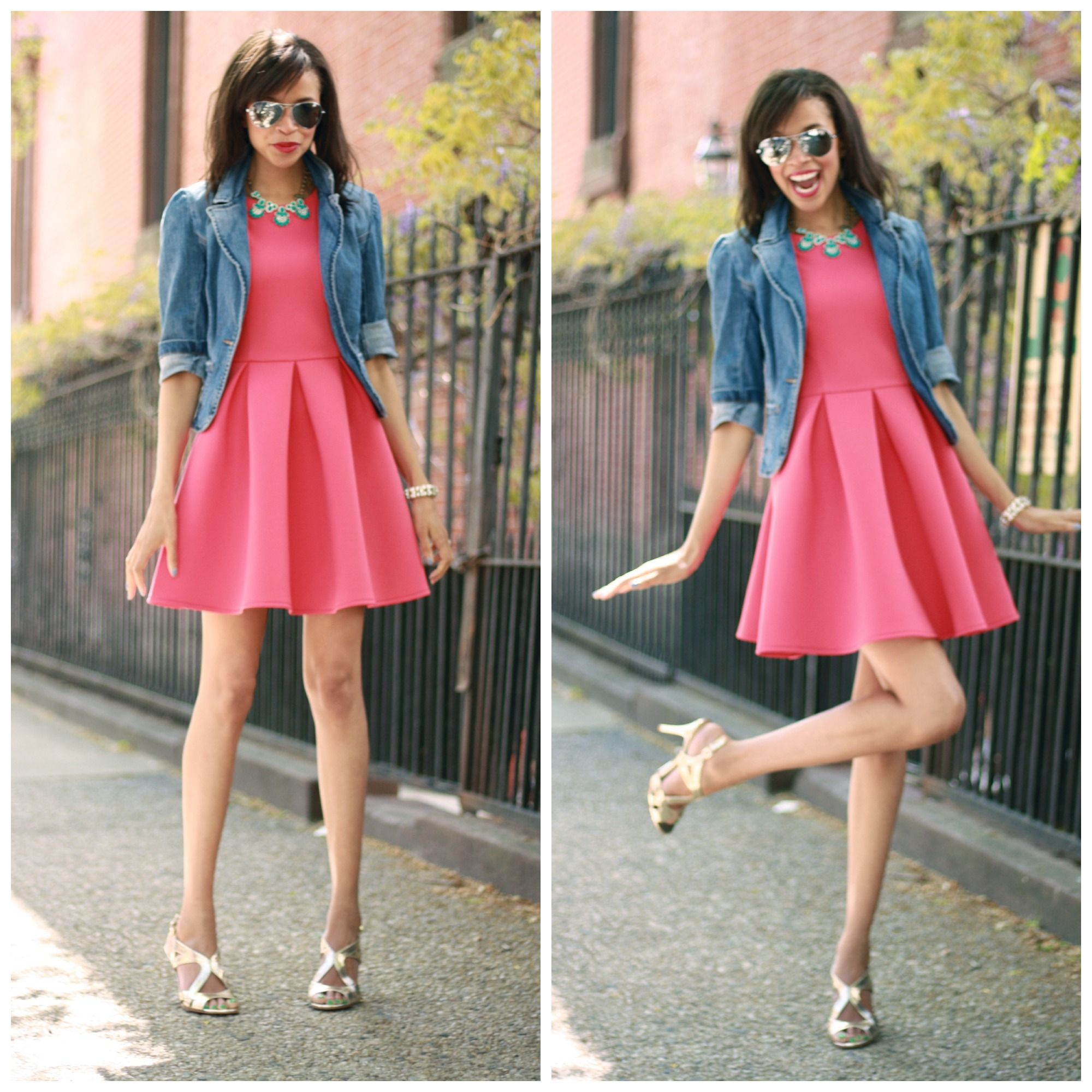 pink-dress-gold-heels-jean-jacket1.jpg (2000×2000) | Denim Jacket ...