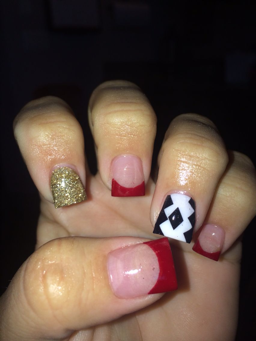 Love the red and Aztec acrylics | Acrylic nails! | Pinterest | Aztec