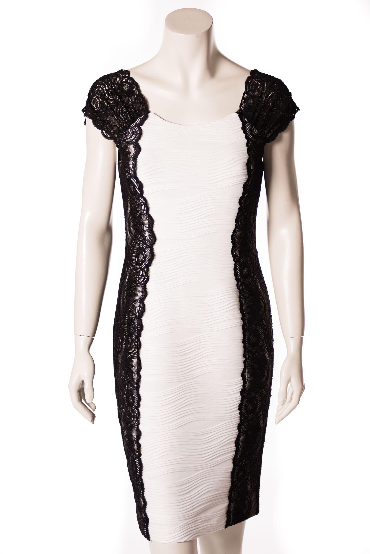 schwarz-weißes Cocktailkleid von Joseph Ribkoff  Weißes