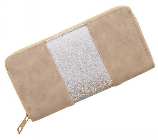 Trendy Portemonnee.Trendy Portemonnee Licht Bruin Met Een Strook Zilveren Glitter In