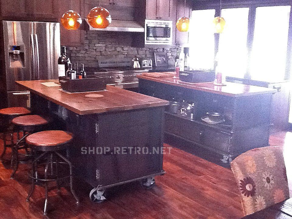 Rolling Island Kitchen Fluorescent Lights Vintage Industrial Antique Cart Utility Table Cabinets 5 950 00 Via Etsy Love The Idea Of A