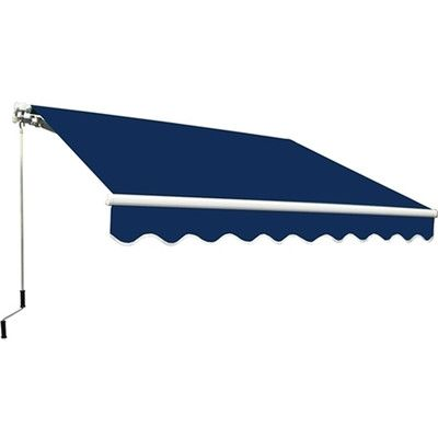 Aleko 13 Ft W X 10 Ft D Retractable Patio Awning Color Blue Patio Awning Aleko Sand Color