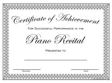 Piano Recital Certificate Piano Recital Piano Teacher Resources Piano Teacher