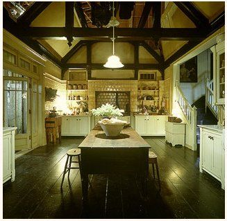 "This is the ""Practical Magic"" kitchen and while I don't think the layout is, ahem, practical, I do adore the style and absolutely love the exposed beams on the ceiling."