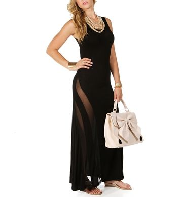 Black Maxi Dress With Mesh Inserts