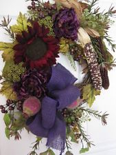 AUTUMN Door Wreath Country Floral Arrangement Fall THANKSGIVING