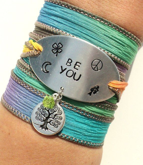 Be You Silk Wrap Bracelet Bohemian Yoga Jewelry Peace