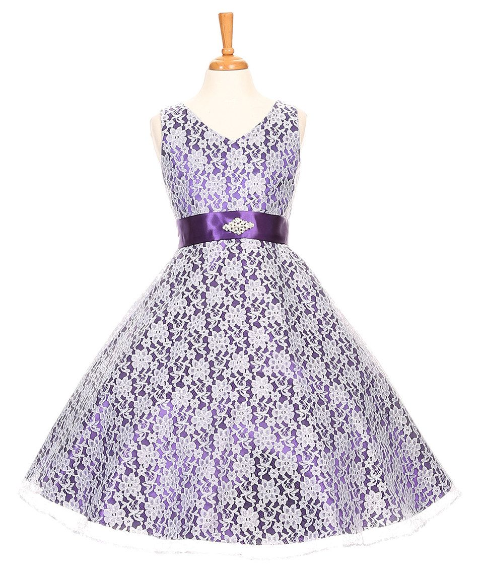 d26eaf3ce064 Look what I found on  zulily! Purple Lace A-Line Dress - Girls by ...