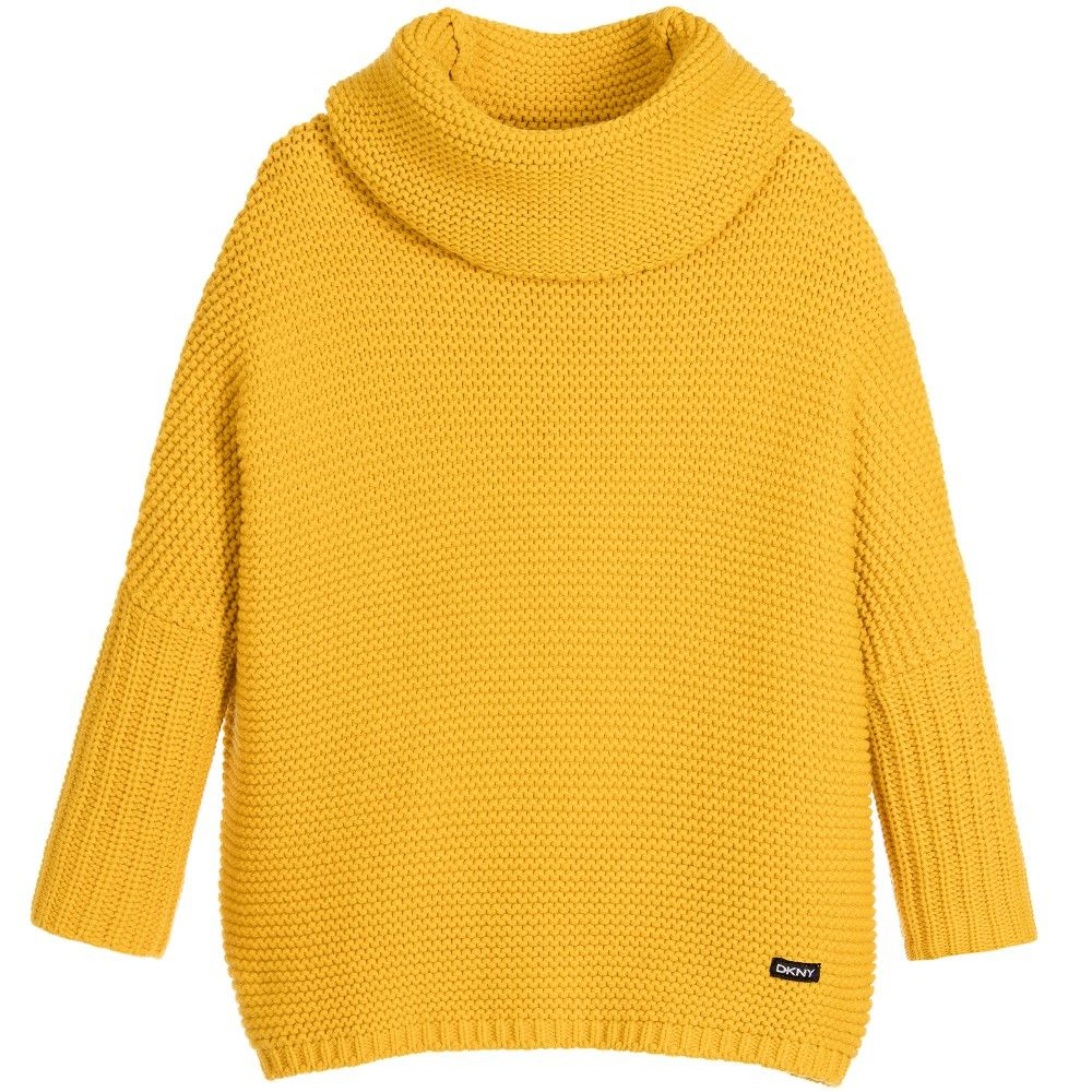 Girls Yellow Knitted Cotton Roll Neck Sweater | Roll neck, Teen ...