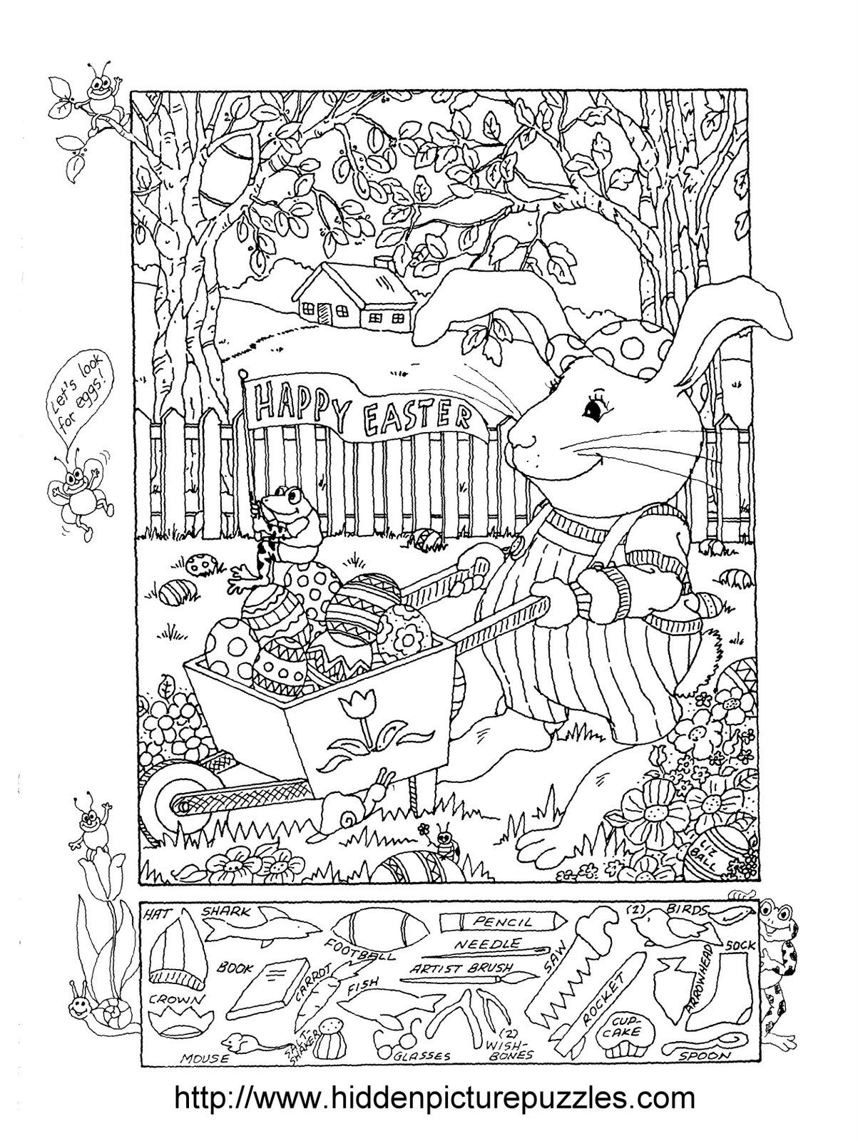 Easter Hidden Picture Puzzle And Coloring Page With