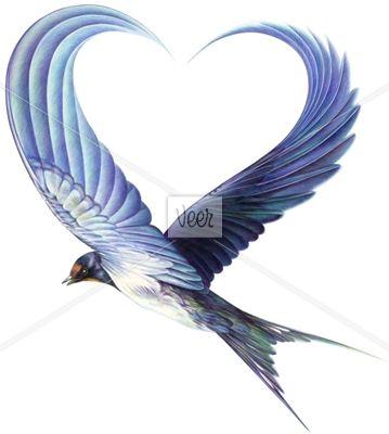 "Photo of Flying Bird Wings Forming Heart Tattoo Design, For Kora Eileen (""maiden""/""heart""…"