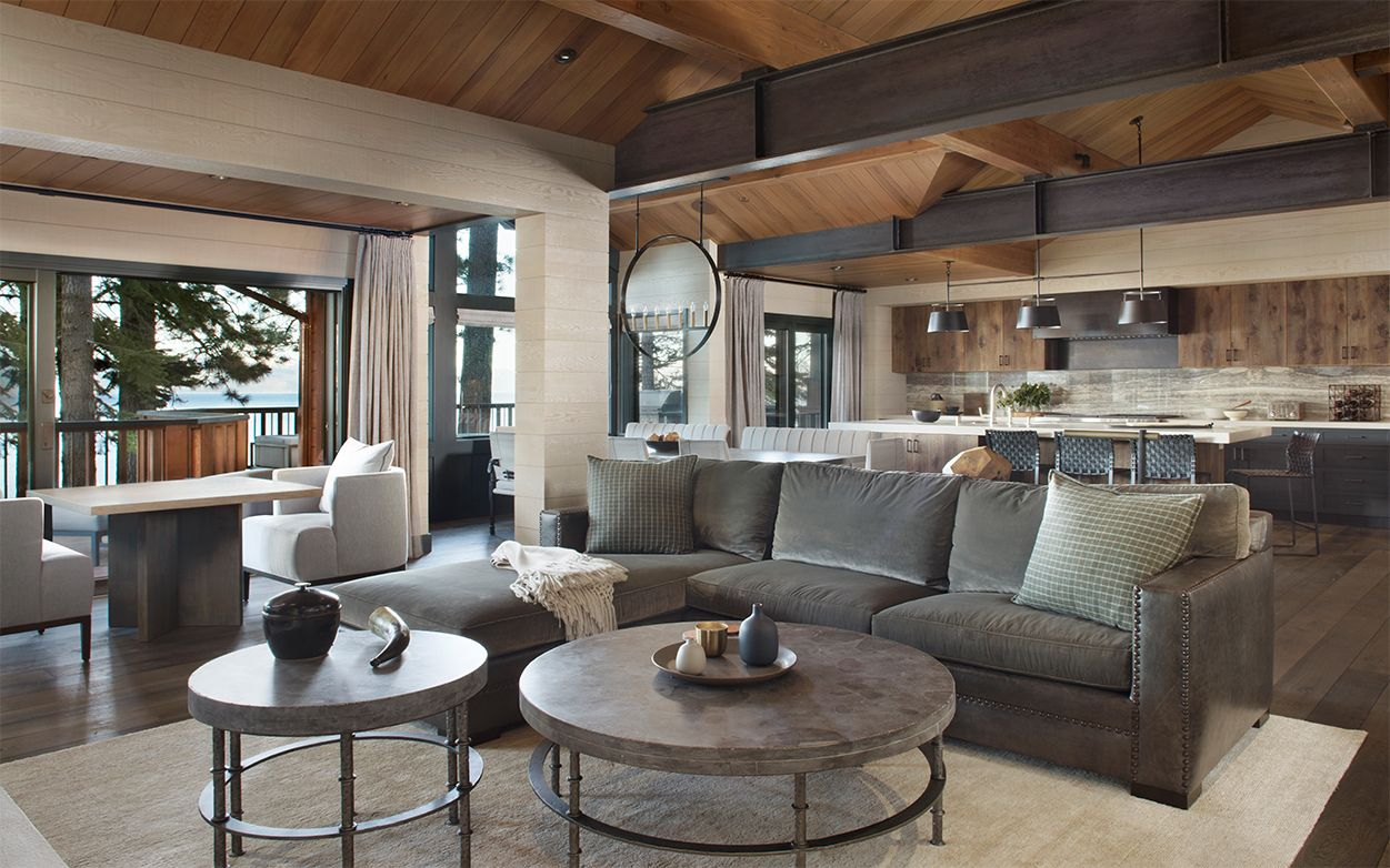 Family Lake House Living Room Family Room Open To Kitchen