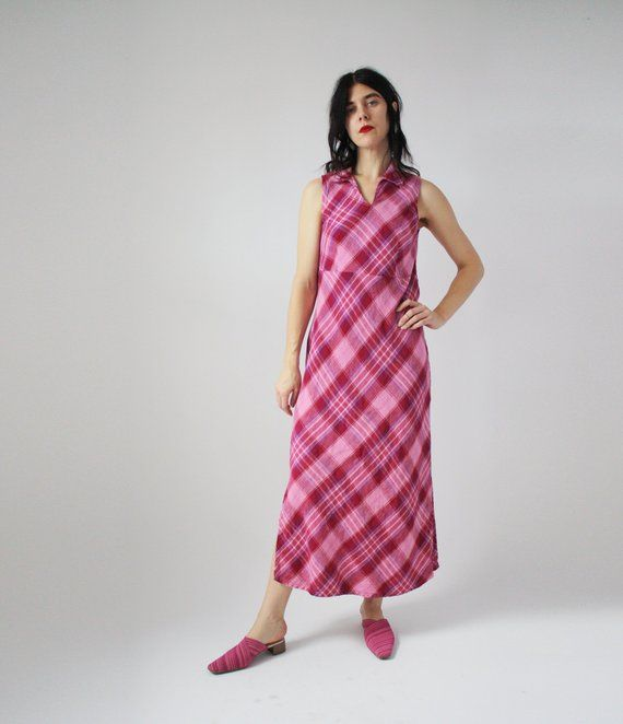 21931df9de6 90s Pink and Red Plaid Linen Dress Collared Sleeveless A-line Chic Timeless  Classic Vintage VTG