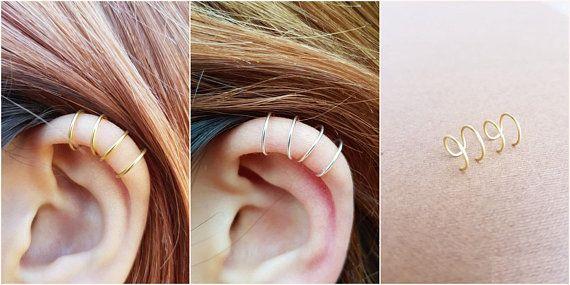 fad404fd8 Silver Gold or Rose gold Ear Cuff No Piercing Earcuff Simple Ear ...