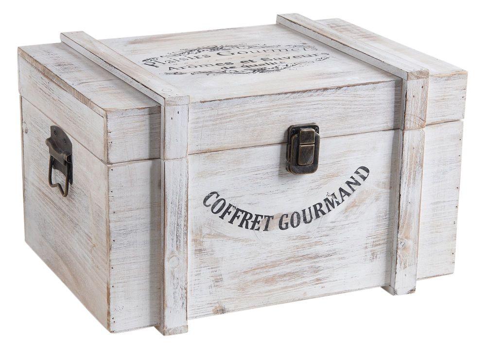 Secondes En Bois Blanc Francais Boite De Rangement Coffre Tresor Shabby Nautique Wine Cabinets Decorative Boxes Shabby