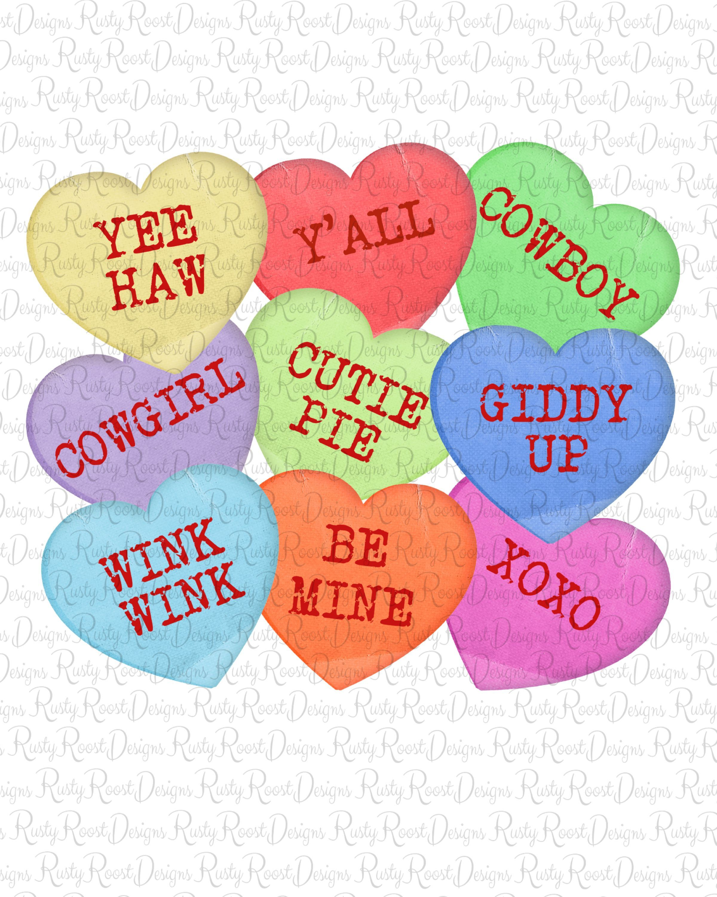 Candy Hearts Png Valentine Sublimation Designs Downloads Etsy Heart Candy Screen Printing Happy Hearts Day