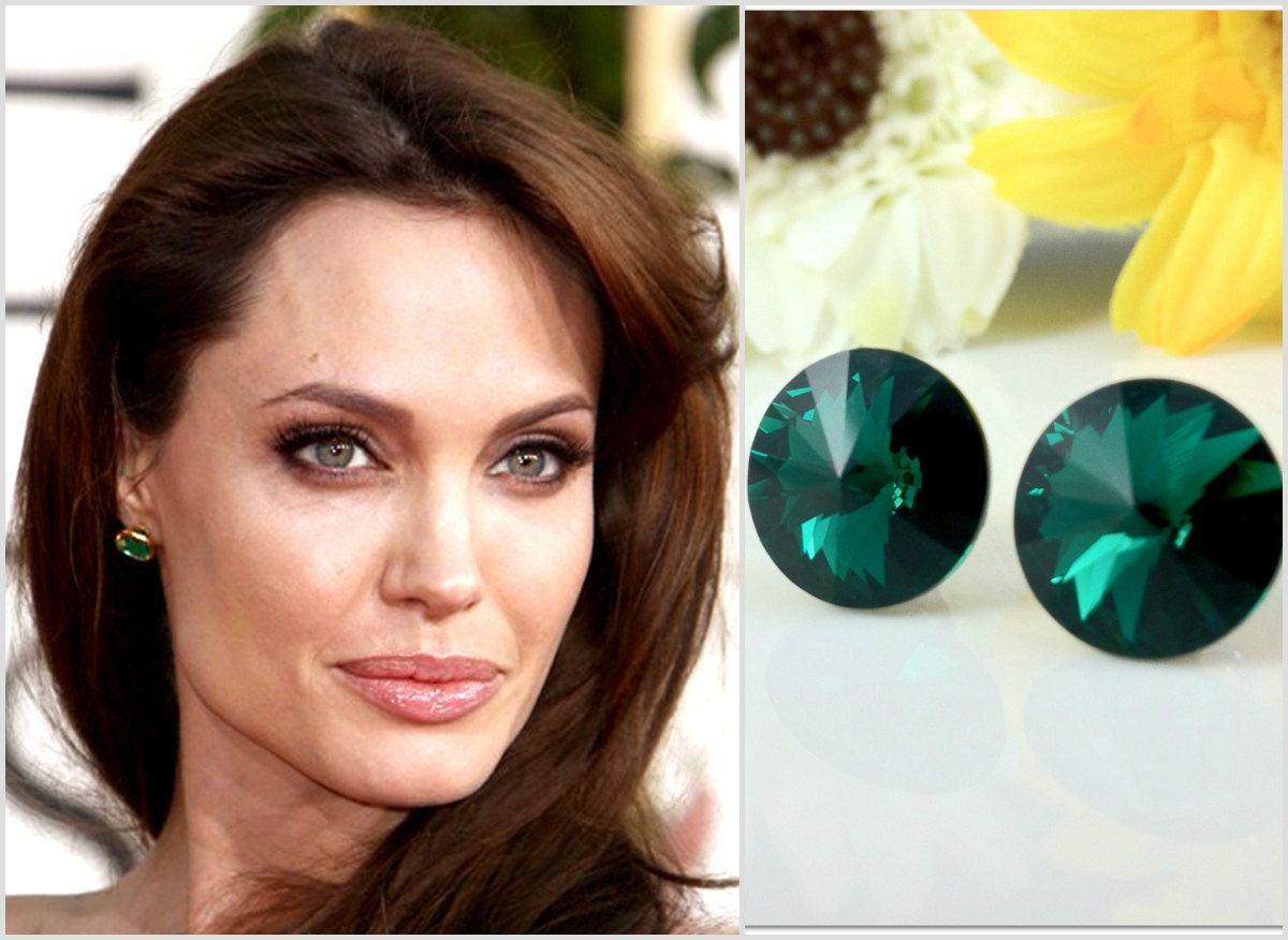 Emerald Green Earrings Celebrity Inspired Jewelry Angelina #jolie Earrings  Swarovski Rivoli Bridesmaid Gift Wedding Jewelry