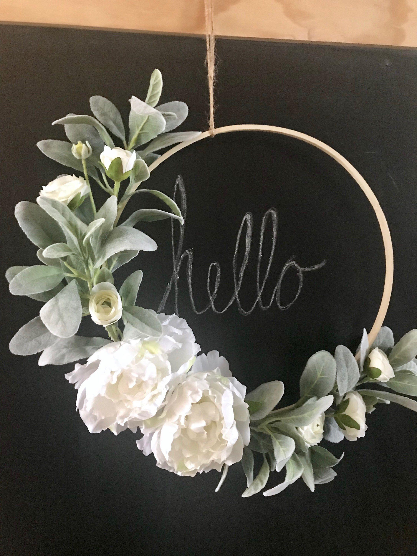 Photo of Hoop Wreath, Spring Wreath, Modern Wreath, Lamb's Ear Wreath, Peony Wreath, Minimalist, Ranunculus, Year Round Wreath, Modern Farmhouse
