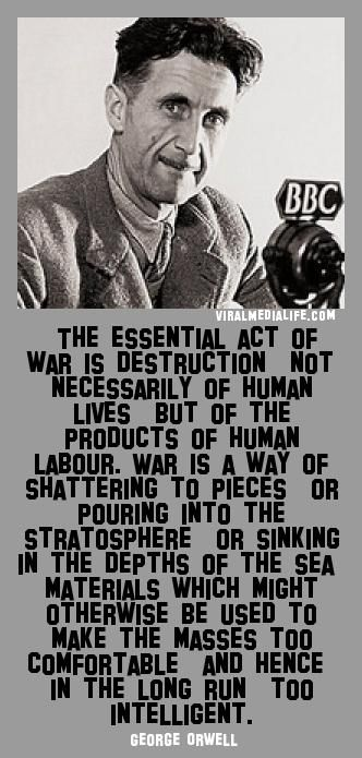 The essential act of war is de... George Orwell - http://goo.gl/ktC4gF