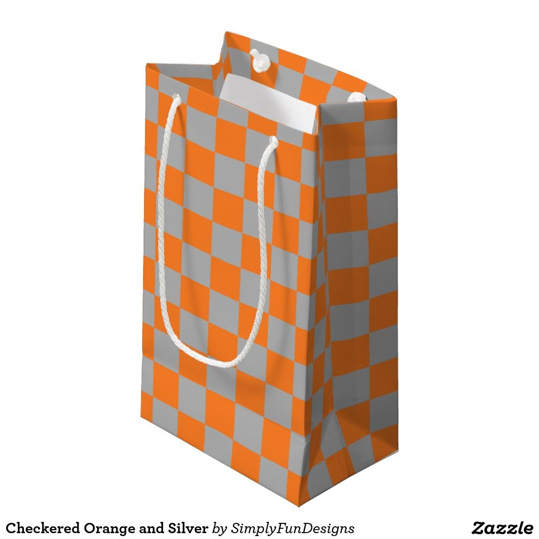 Checkered Orange and Silver Small Gift Bag