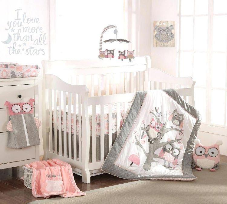Babyzimmer deko eule  babyzimmer in grau und rosa deko eulen bettwäsche babymobile ...