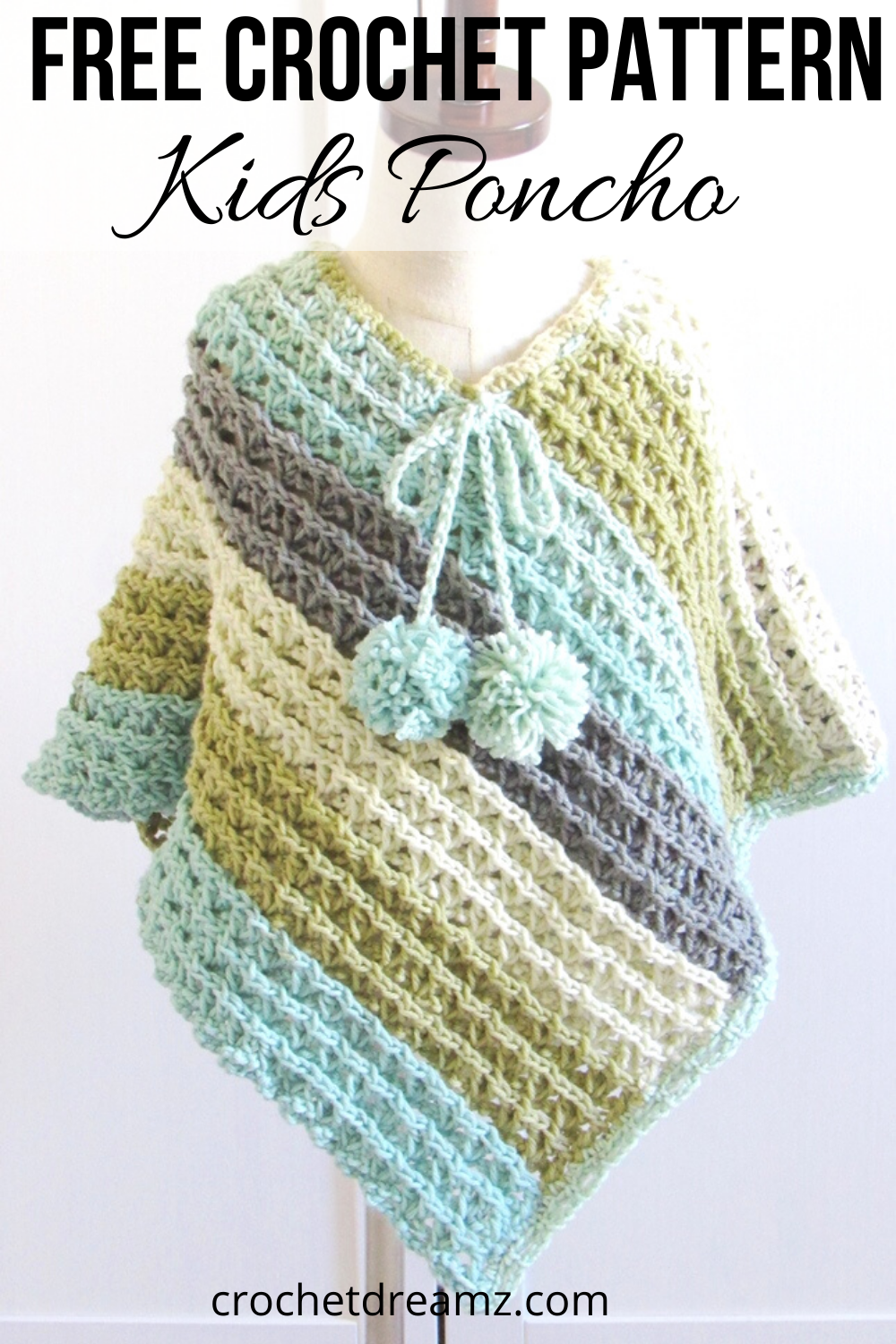 Crochet Pattern for Poncho (6 Sizes)