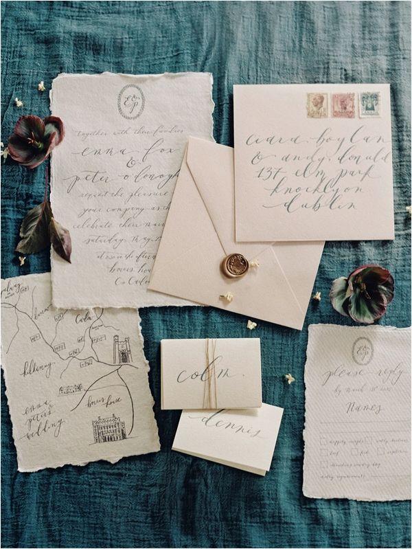 10 Gold Wax Seal Wedding Invitation Suite Crest Logo Map Wedding