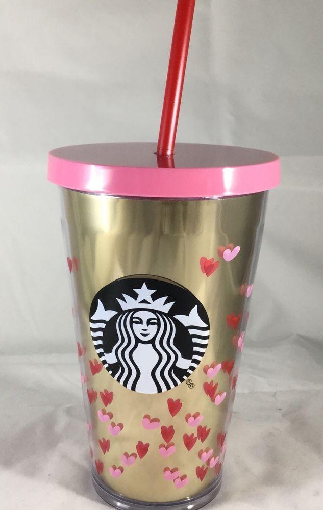 b8b91bd5a28 2017 Starbucks Valentines Day Cold Cup Gold Pink Hearts 16 oz Acrylic # Starbucks