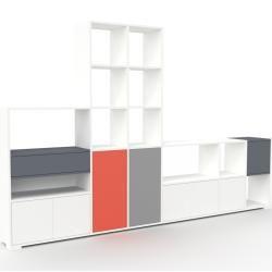 Photo of Wohnwand Weiß – Individuelle Designer-Regalwand: Schubladen in Anthrazit & Türen in Weiß – Hochwerti