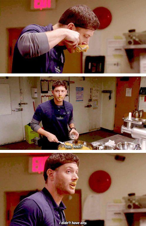 [gifset] Jensen Season 9 gag reel. #SPN