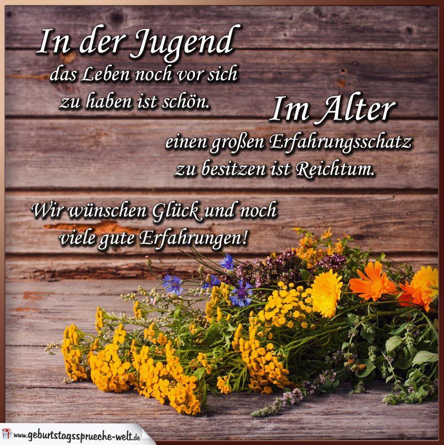 Gl ckw nsche zum geburtstag mit blumen auf holz - Blumen zitate ...